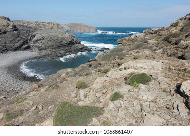 Creek on the slate cape of Favaritx, Menorca, Balearic Islands, Spain