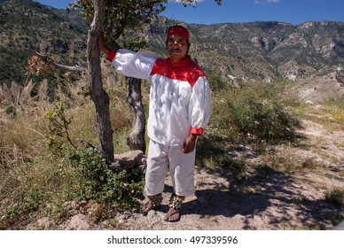 Creel, Chihuahua, Mexico - October 10, 2014: Indigenous Tarahumara man takes rest under the shade of the tree, wears traditional tribal outfit, in Copper Canyons, Chihuahua, Mexico on October 10, 2014