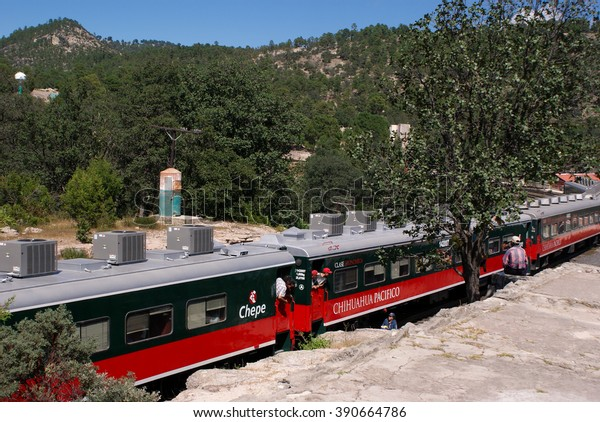 Creel, Mexico - October 10, 2014: People look out of El Chepe train near the Creel station in Copper Canyons, Chihuahua, Mexico on October 10, 2014
