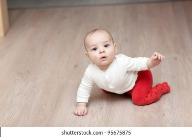 The creeping baby boy on the floor at home