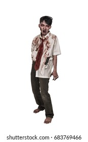 Creepy asian zombie man with bloody face standing isolated over white background