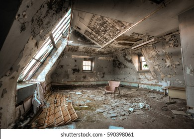 Creepy attic in an abandoned psychiatric building