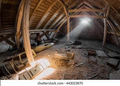 A creepy attic of an old house
