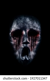 Creepy bloody ghost head isolated on black background