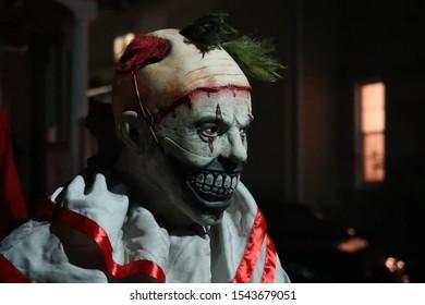 Creepy clown decoration for Halloween. Seasonal.