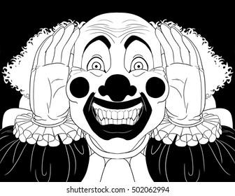 Creepy clown peering into a window.