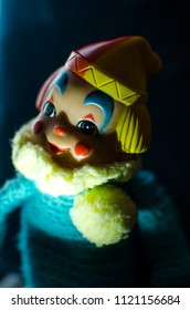 creepy clown smile in high contrast and selective focus concept