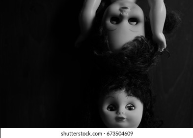 creepy doll face  in high contrast