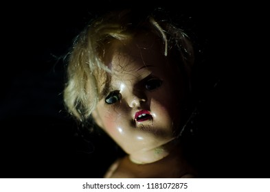creepy doll happy face in high contrast