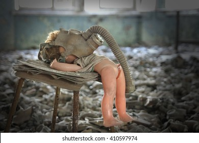 Creepy doll in Middle School No. 3 in Pripyat ghost town, Chernobyl Nuclear Power Plant Zone of Alienation, Ukraine