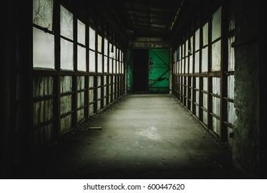 creepy hallway of an old abandoned factory, with a metallic green door