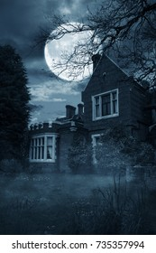 Creepy old house at night with  trees and a large moon