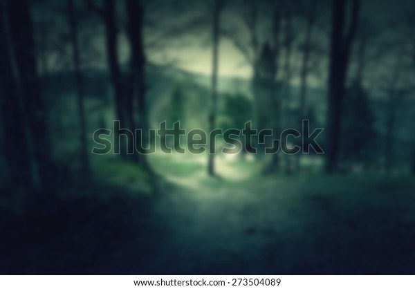 Creepy Scary Background House Middle Dark Stock Photo (Edit