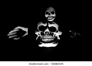 creepy skull in black and white and high contrast concept
