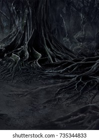 creepy trees with twisted roots and two lizard on misty night forest. Scary concept.