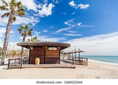 CREIXELL,SPAIN-MARCH 16,2018: Mediterranean beach, terrace bar, chiringuito in Creixell, Costa Dorada, Catalonia, Spain.