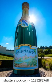 Cremant, Champagne / France - October 9 2016: Giant bottle of Champagne at the entrance to the village of Cremant