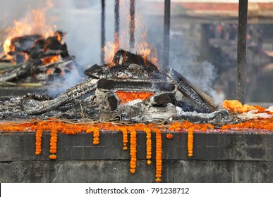 Cremation near Pashupatinath temple in Kathmandu, Nepal