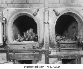 Cremation ovens at the Buchenwald concentration camp near Jena, Germany, April 16, 1945. Prisoners from all over Europe and the Soviet Union worked as forced labor in local armaments factories. Most d
