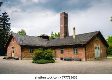 Crematorium Dachau, Bavaria, Germany. The Dachau Concentration Camp. Dachau was the first of the Nazi concentration camps opened in Germany.
