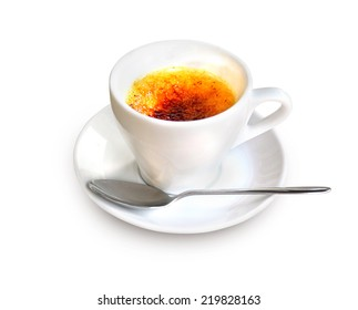 Creme Brulee in a coffee cup isolated on white background with clipping path