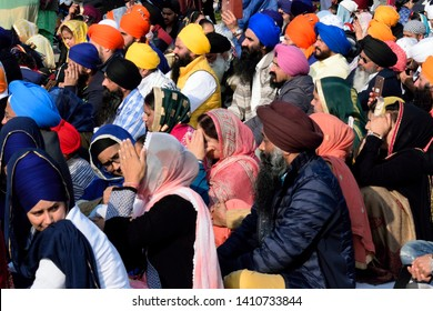 Cremona, Italy - April 13, 2019: sikh people participating  to Vaisakhi festivity