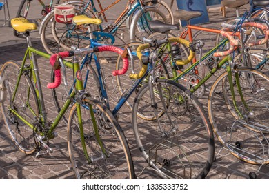 CREMONA, ITALY -FEBRUARY 17: historical bicycles on sale at flea market in city center, shot in bright winter light on feb 17, 2019 at Cremona, Lombardy, Italy