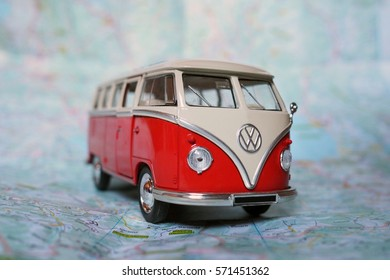 Cremona, Italy - January 09, 2017: Miniature of a Volkswagen Van Bulli 1962 on a road map.