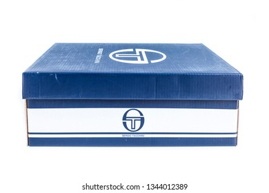 CREMONA, ITALY - MARCH, 2019: Sergio Tacchini shoes box isolated on white background. Sergio Tacchini is a mainly tennis brand. The entrepreneurial activity began in 1966.