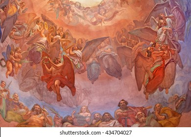 CREMONA, ITALY - MAY 24, 2016: The choirs of angels fresco as the detail of cupola in church Chiesa di Santa Agata by Giovanni Bergamaschi from end of 19. cent.