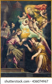 CREMONA, ITALY - MAY 24, 2016: The Annunciation paint in Chiesa di San Agostino by Giulio Campi (circa 1571).