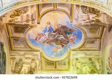 CREMONA, ITALY - MAY 24, 2016: The fresco of Apotheosis of st. Theresia on vault of side chapel in Chiesa di San Sigismondo by artists Giulio Campi, Bernardino Campi e Bernardino Gatti (1564 - 1567).