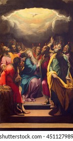 CREMONA, ITALY - MAY 25, 2016: The painting of Pentecost in The Cathedral by G. B. Trotti nicknamed Malosso (1555 - 1612).