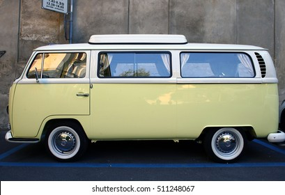 Cremona, Italy - September 10,2016: old restored Yellow Volkswagen van parked in Cremona on September 10,2016