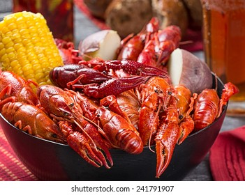 Creole style crawfish boil serving with corn and boiled potato
