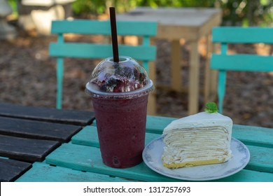 Crepe Cake and  Blueberries Juice