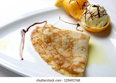 crepe and ice cream dessert
