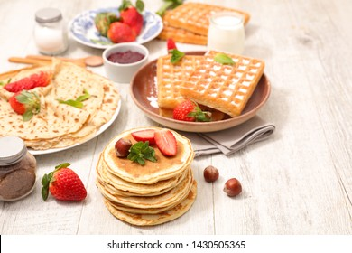 crepe, pancake and waffle with fruit