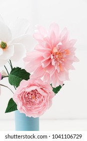Crepe paper flower bouquet with peonies, dahlia and camellia in a vase