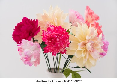Crepe paper flower bouquet with peonies, dahlia and poppies in a vase