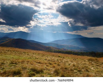 crepuscular light on mountains