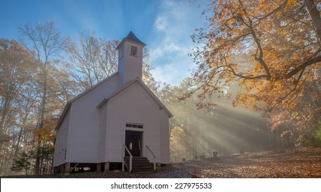 Crepuscular Rays Fall Upon Cades Cove Missionary Baptist Church