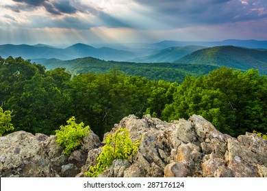 Crepuscular rays over the Blue Ridge Mountains seen from Loft Mountain in Shenandoah National Park, Virginia.