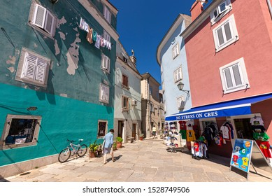 CRES, CROATIA, JULY 15, 2015: The city of Cres is the biggest town on the Cres island, Croatia. It's beautiful bay nad numerous small streets are a big tourist attraction.