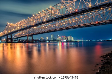 Crescent City Connection Bridge with the City of New Orleans in the Background, New Orleans, Louisiana, USA