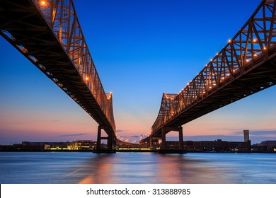 The Crescent City Connection Bridge on the Mississippi river in New Orleans Louisiana