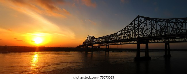The Crescent City Connection (formerly the Greater New Orleans Bridge) at sunrise in New Orleans, Louisiana on April 11, 2011.
