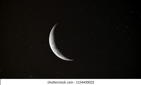 Crescent Moon background / The Moon is an astronomical body that orbits planet Earth and is Earth's only permanent natural satellite. It is the fifth-largest natural satellite in the Solar System