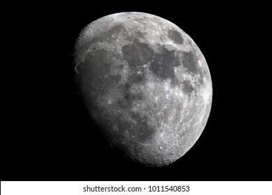 Crescent moon, gibbous moon