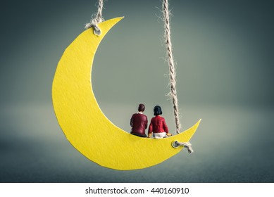 Crescent moon miniature men and women